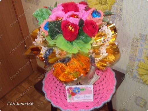 Букет делала на 8 марта для любимой свекрови! Цветы были сделаны заранее... на всякий случай! А собирала я его уже ночью!!!! фото 5