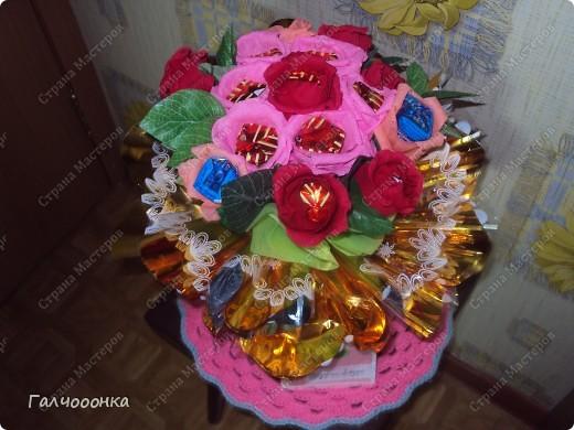 Букет делала на 8 марта для любимой свекрови! Цветы были сделаны заранее... на всякий случай! А собирала я его уже ночью!!!! фото 6