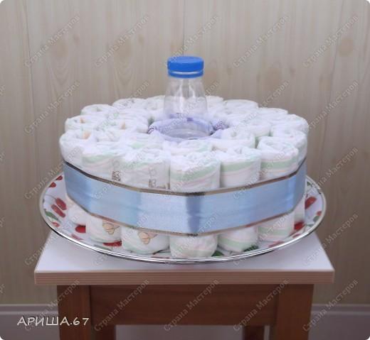 Очень давно хотелось сделать тортик из памперсов, да повода не было... А теперь повод есть... УРА!!! фото 3