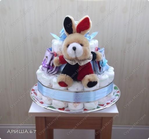 Очень давно хотелось сделать тортик из памперсов, да повода не было... А теперь повод есть... УРА!!! фото 5