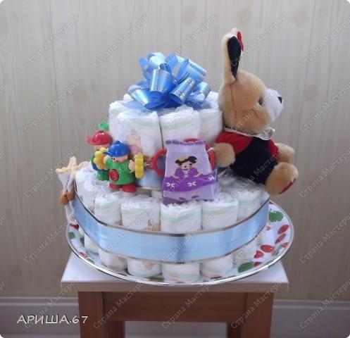Очень давно хотелось сделать тортик из памперсов, да повода не было... А теперь повод есть... УРА!!! фото 6