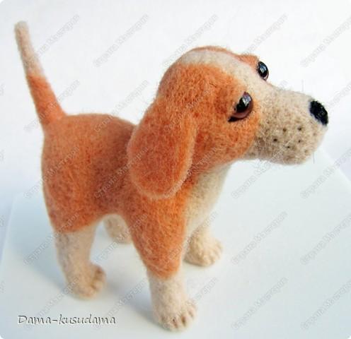 Тузики в очереди за колбасой:-)  Собачка Тузик, папа Барбосика, которого я сделала раньше.Размер игрушки 11,5 см в длину.        фото 2