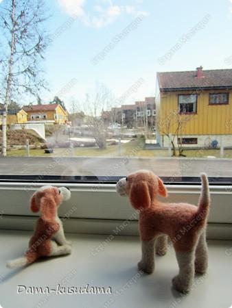 Тузики в очереди за колбасой:-)  Собачка Тузик, папа Барбосика, которого я сделала раньше.Размер игрушки 11,5 см в длину.        фото 7