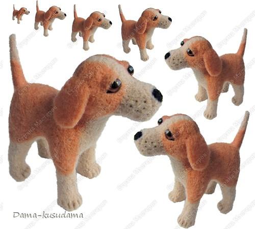 Тузики в очереди за колбасой:-)  Собачка Тузик, папа Барбосика, которого я сделала раньше.Размер игрушки 11,5 см в длину.        фото 1