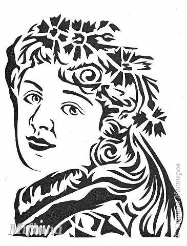 Картина панно рисунок Вырезание Портрет девушки + шаблон Бумага фото 2.