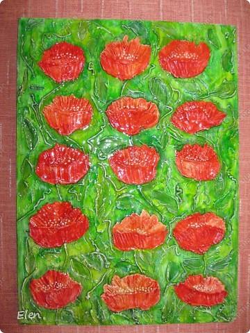 Увидела  romangt(Романа) картины в технике Терра низкий поклон за идею,,тоже решила попробовать,была у меня заготовка для картины размером 1200x40,вот целое поле маков получилось фото 5