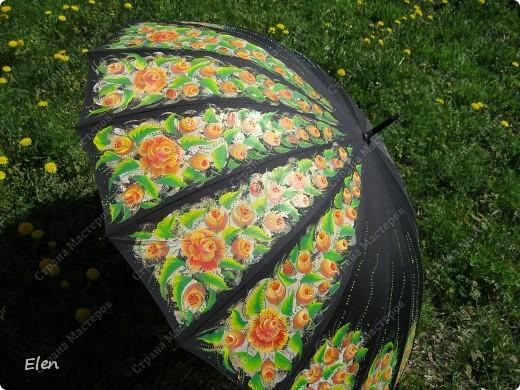 Зонтик расписала акриловыми красками по ткани еще зимой фото 1