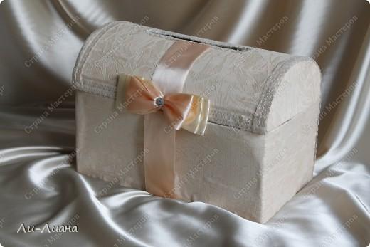 Спасибо Eis за подробнейший мастер-класс по созданию сундучков для свадебных подарков! http://stranamasterov.ru/node/213381?c=favorite  Делала всё по ее МК. Только декор поменяла фото 1