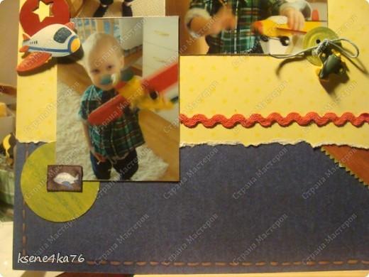 Здравствуйте, дорогие жители СМ!!! Сегодня хочу вам показать скрап-страничку детскую с самолетом))) фото 4