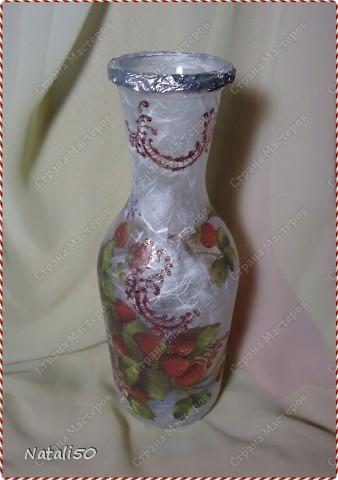 Доброй всем ночи !!! Решила сделать вазочку с земляникой...использовала рисовую бумагу )) Мне нравится с ней работать )))  фото 1