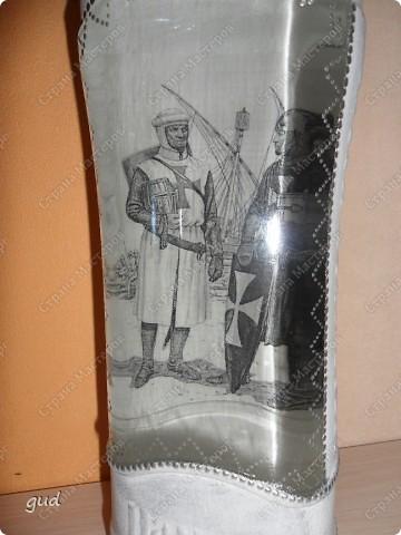 Очень трудно (мне по крайне мере) придумать оформление бутылки с содержимым для мужчины. Очень трудно (времени было всего 2 дня) родилась вот такая бутылочка фото 2
