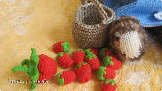 Мишка связан спицами по кругу, веночек, сарафан и корзинка с ягодами  - крючком. Размер - 32 см. Может стоять и сидеть. Автор мишки Лариса (Вязаная радуга) из клуба Осинка.  фото 7