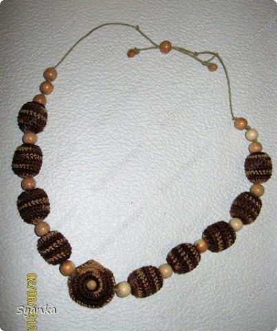 """""""Капучино"""" Обязанные деревянные бусины 100% ирис. Можжевеловые бусины. Вощенный шнур. фото 1"""