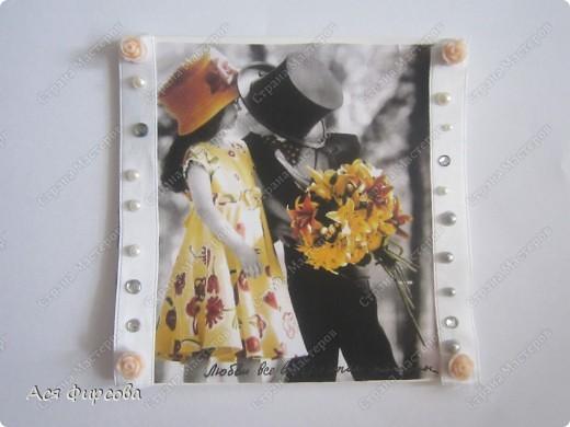 Жалко, что мы с мамой опоздали с конкурсными работами. Это открытка - на день свадебного наряда, а чуть ниже прихватки - на день прихваток... фото 3
