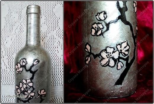 Вот такая бутылочка у меня получилась буквально за пару часов. При этом использовались не совсем обычные материалы - лаки для ногтей (серебристый, черный и бледно-розовый).  фото 3