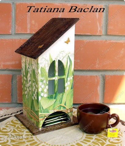 Короб для чайных пакетиков (декупаж, объёмные трафарет, лессировка) и чайные домик (декупаж и фактурная шпаклёвка) фото 2