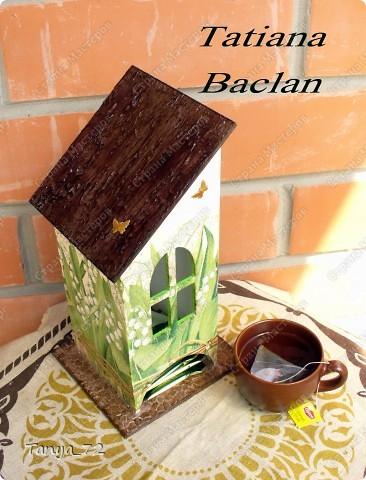 Короб для чайных пакетиков (декупаж, объёмные трафарет, лессировка) и чайные домик (декупаж и фактурная шпаклёвка) фото 3