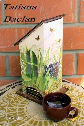 Короб для чайных пакетиков (декупаж, объёмные трафарет, лессировка) и чайные домик (декупаж и фактурная шпаклёвка) фото 4