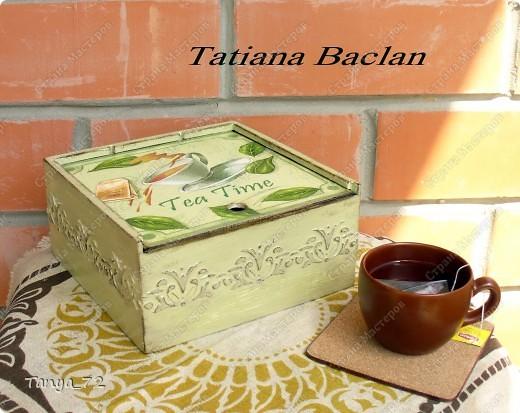 Короб для чайных пакетиков (декупаж, объёмные трафарет, лессировка) и чайные домик (декупаж и фактурная шпаклёвка) фото 5