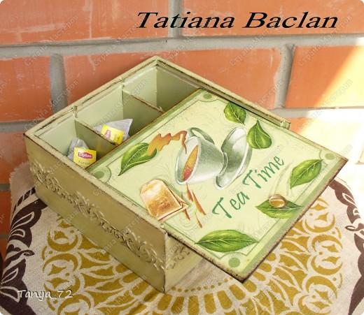 Короб для чайных пакетиков (декупаж, объёмные трафарет, лессировка) и чайные домик (декупаж и фактурная шпаклёвка) фото 6