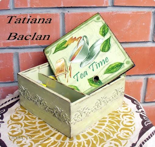 Короб для чайных пакетиков (декупаж, объёмные трафарет, лессировка) и чайные домик (декупаж и фактурная шпаклёвка) фото 7