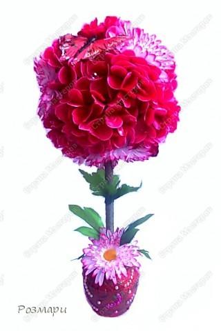 Топиарий из искусственных цветов, декорированных полубусинами, бусинами, бабочками, сердечками, стеклянными росинками. Высота дерева 40 см фото 1