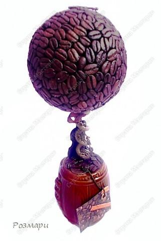 Дерево выросло в маленьком винном бочонке. Украшено тремя скрипками: большая деревянная, средняя из металла наверху, маленькая привязана на к стволу фото 2