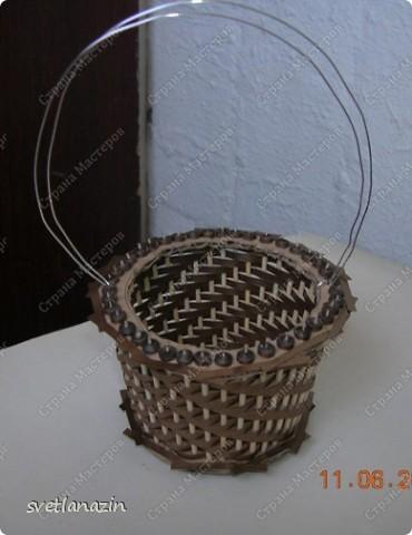 Мастер-класс Квиллинг Корзинка для квиллингового букета Бумажные полосы Картон Проволока фото 11