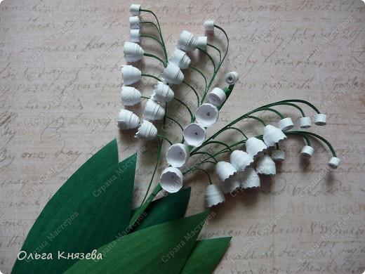 Что-то получаются пока миниатюрки). Сделала букетик ландышей. Делала для конкурсного задания http://www.smart-arts.ru/club/user/5438/blog/1160/ фото 2