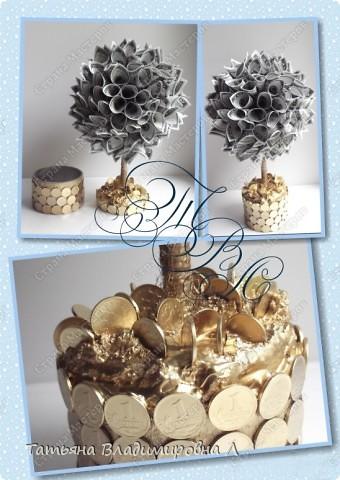 Денежное деревце в подарок на свадьбу. Спасибо за МК ( http://stranamasterov.ru/node/314109?c=favorite_c ) Тут показано как делать крону. фото 1