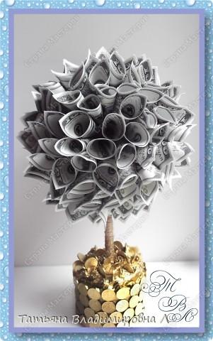 Денежное деревце в подарок на свадьбу. Спасибо за МК ( http://stranamasterov.ru/node/314109?c=favorite_c ) Тут показано как делать крону. фото 2