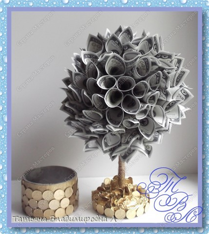 Денежное деревце в подарок на свадьбу. Спасибо за МК ( http://stranamasterov.ru/node/314109?c=favorite_c ) Тут показано как делать крону. фото 3