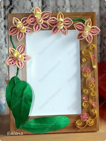 У свекрови сломалась рамочка, ну вот в замен  ей купила и украсила цветочками в стиле квиллинг. Размер рамочек 10 на 15см... фото 2
