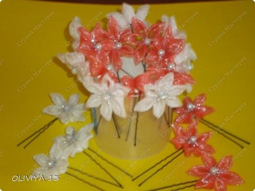 Поделка изделие Украшение Цумами Канзаши Шпильки ободки заколки и резиночки для волос Бисер Клей Ленты фото 3.