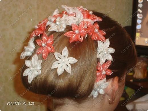 Поделка изделие Украшение Цумами Канзаши Шпильки ободки заколки и резиночки для волос Бисер Клей Ленты фото 4.