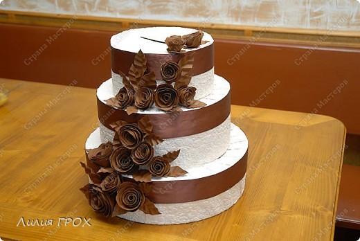 Сделана коробка-торт на свадьбу, для того, чтобы гости могли положить туда деньги в подарок молодым.