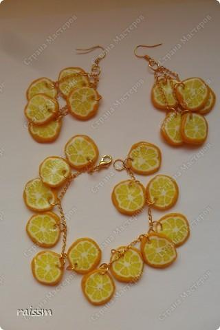 Сочный лимон-браслет и серьги. фото 1