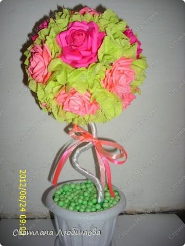 Очень понравилось мне делать розы по МК Астории. Вот сделала еще одно дерево в подарок. фото 1