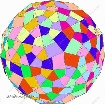 Перегибаемые полосы для правильных многоугольников М3-М9. Согнуть прямоугольник в средней цветной диагонали. Этот элемент ложится в нужный многоугольник, края попадают в стороны многоугольника (в ребра многогранника; только слегка наметить сгиб). Составлять последовательность прямоугольников зигзагообразно. фото 2