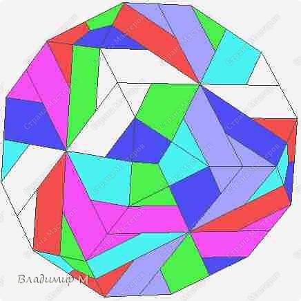 Перегибаемые полосы для правильных многоугольников М3-М9. Согнуть прямоугольник в средней цветной диагонали. Этот элемент ложится в нужный многоугольник, края попадают в стороны многоугольника (в ребра многогранника; только слегка наметить сгиб). Составлять последовательность прямоугольников зигзагообразно. фото 7