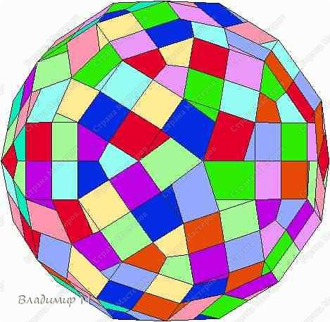 Перегибаемые полосы для правильных многоугольников М3-М9. Согнуть прямоугольник в средней цветной диагонали. Этот элемент ложится в нужный многоугольник, края попадают в стороны многоугольника (в ребра многогранника; только слегка наметить сгиб). Составлять последовательность прямоугольников зигзагообразно. фото 8