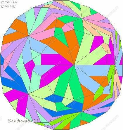 Перегибаемые полосы для правильных многоугольников М3-М9. Согнуть прямоугольник в средней цветной диагонали. Этот элемент ложится в нужный многоугольник, края попадают в стороны многоугольника (в ребра многогранника; только слегка наметить сгиб). Составлять последовательность прямоугольников зигзагообразно. фото 6