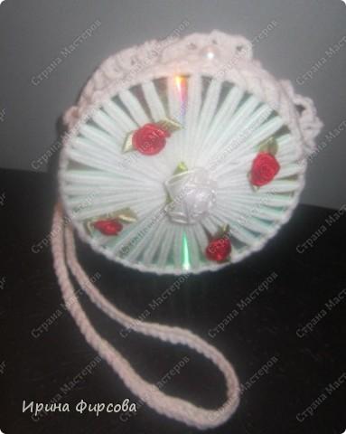 Летняя вязанная сумочка из СД - дисков плюс МК))) фото 2