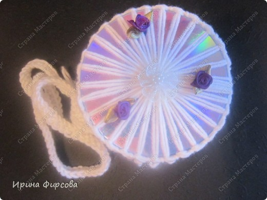Летняя вязанная сумочка из СД - дисков плюс МК))) фото 12