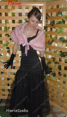 Платье было сшито специально на встречу Нового года. Платье из жаккарда, подол платья - мягкий фатин. Накидка сшита из искусственного меха, на подкладе из атласа. фото 1