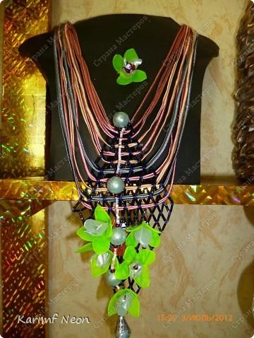Ещё одно ожерелье из Пластиковой бутылки.  Это из под лимонада Монти Дью.  фото 4