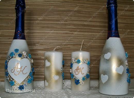 Попросили меня сделать набор в синем,  в подарок на свадьбу по мотивам моего другого набора http://stranamasterov.ru/node/359689 , вот я и решила слегка изменить (скучно одно и тоже делать))))  фото 1