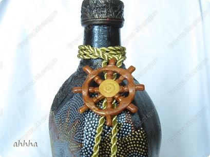 Бутылка с напитком на день рождения мужчине в самом расцвете сил :) на морскую тематикую. Использовала идеи многих мастериц. Огромное вам спасибо за опыт :) фото 4