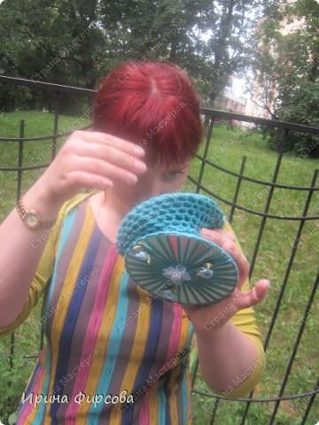Летняя вязанная сумочка из СД - дисков плюс МК))) фото 16