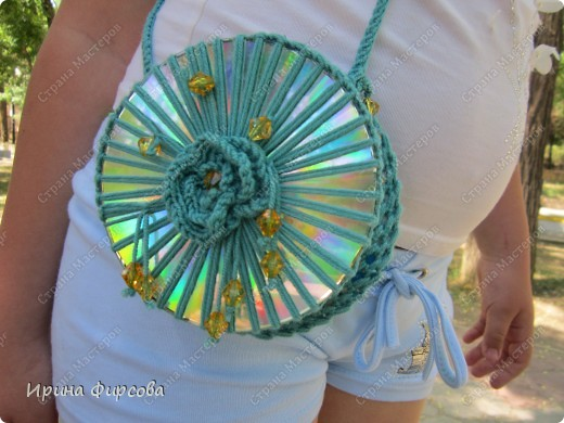 Летняя вязанная сумочка из СД - дисков плюс МК))) фото 1